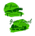 ecotourism and go green symbol for travel design vector image vector image
