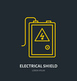 electrical shield flat line icon high voltage vector image vector image