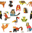 exotic animals variety seamless pattern lemur and vector image vector image