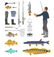 fishing equipment and fisher with haul banner vector image vector image