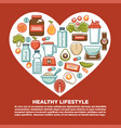 fitness healthy food heart poster of sport diet vector image vector image