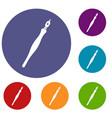 fountain pen icons set vector image vector image