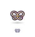 gold metallic butterfly symbol double b vector image vector image