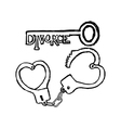 handcuffs in the form of heart and the key vector image vector image
