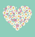 heart shape chamomile and forget-me-not flowers vector image