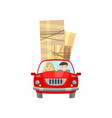 man and woman move to a new place in a car vector image