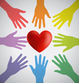 Many Colorful Hands Surrounding A Red Heart vector image vector image