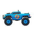 monster truck vehicle blue pickup with large vector image vector image