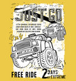 off road hand drawn poste vector image vector image