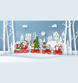 origami paper art style christmas train with vector image vector image