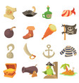 pirate culture symbols icons set cartoon style vector image vector image