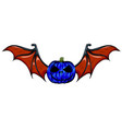 pumpkin face with red bat wings vector image