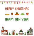 retro pixel christmas greeting card with houses vector image vector image
