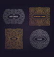 set of art deco golden borders frames vector image
