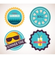set of four retro labels for summer sale vector image
