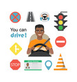 set of road symbols and black african american man vector image vector image