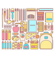 set of school supplies in modern flat vector image