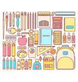 set school supplies in modern flat vector image