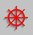 ship wheel sign red icon with soft shadow vector image vector image