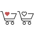 shopping trolley with a heart vector image vector image