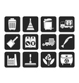 Silhouette Cleaning Industry and environment Icons vector image