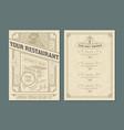 vintage template for restaurant menu design vector image vector image