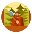 woodcutter in forest vector image