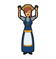 young cartoon woman in swiss national costume vector image vector image