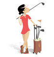 young woman plays golf isolated vector image vector image
