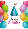 hat blue and balloons happy birthday party graphic vector image