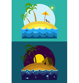 Tropical Island Vacation Postcard with Palm Beach vector image