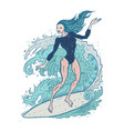 beautiful woman on surf board vector image