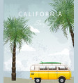 california summer travel card with camping car vector image vector image