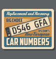 car license plates for vehicles vector image vector image