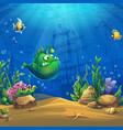 cartoon funny green fish vector image vector image