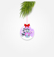 christmas tree branch with xmas and new year ball vector image vector image