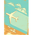 cloudy blue sky retro background with airplane vector image