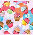 cupcake seamless pattern sweet pastries vector image vector image