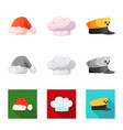 design of headgear and cap icon collection vector image vector image