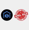 dollar garage bank icon and grunge april vector image vector image