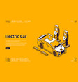 electric car on charger station banner vector image