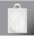 empty white blank polyethylene bag mock up vector image