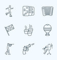 entertainment icons line style set with racing vector image vector image