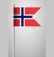 flag of norway national flag on flagpole vector image vector image