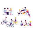 flat characters having fun together set vector image vector image