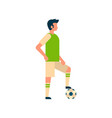football player putting foot on ball isolated vector image vector image