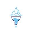 funneling iceberg logo icon vector image vector image