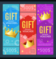 gift voucher card set template monetary value vector image vector image