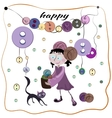 Girl and buttons vector image vector image