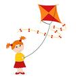 girl launching kite vector image vector image